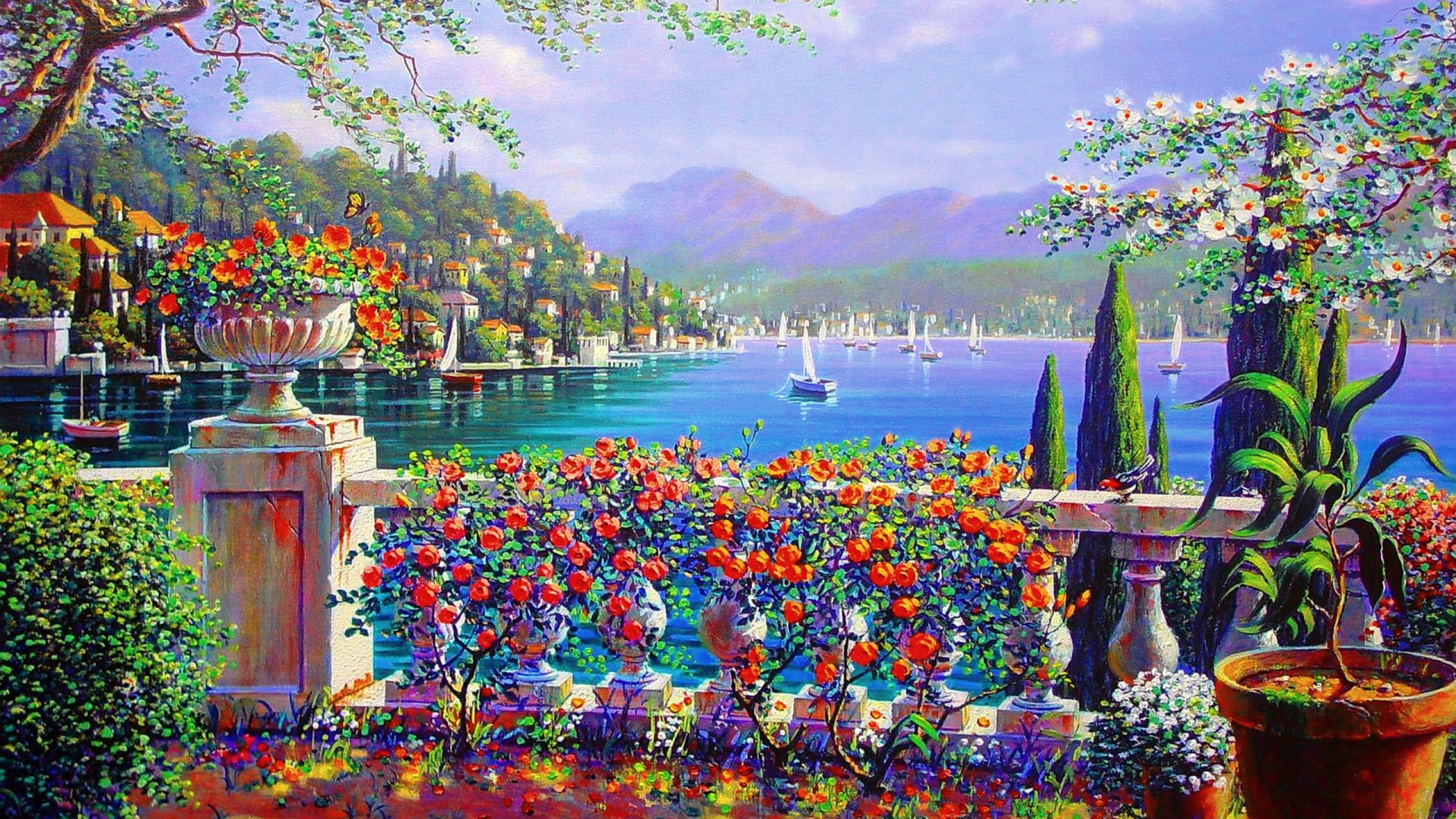 2560x1440 vivid terrace bellagio italy desktop pc and mac wallpaper