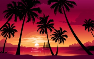 Palms and purple sky wallpapers and stock photos