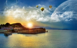 Baloons over beach wallpapers and stock photos