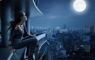 Girl on edge wallpapers and stock photos