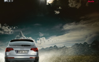 Audi Q7 and sky wallpapers and stock photos