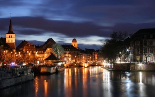 Strasbourg at night wallpapers and stock photos