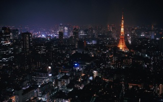 Tokyo at night wallpapers and stock photos