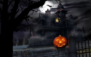 House and pumpkin wallpapers and stock photos