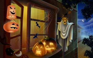 Pumpkins on window wallpapers and stock photos