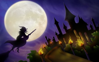 Witch on a broom wallpapers and stock photos