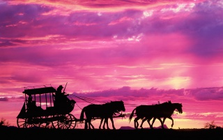 Carriage in sunset wallpapers and stock photos