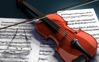 Violin and notes wallpapers and stock photos