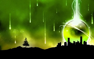 Green sky illustration wallpapers and stock photos