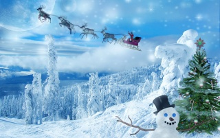 Snowman and sleigh wallpapers and stock photos