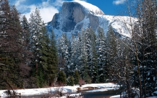 Half Dome in winter wallpapers and stock photos