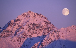 Moonrise Alpenglow wallpapers and stock photos