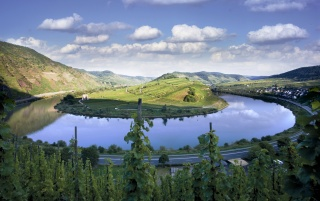 Mosel near Bremm wallpapers and stock photos
