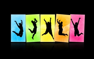 Jumping silhouettes wallpapers and stock photos
