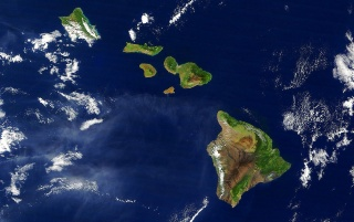 Hawaii from satellite wallpapers and stock photos