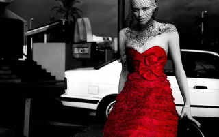 Woman in red dress wallpapers and stock photos