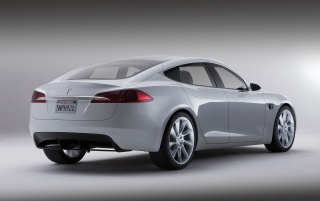 Tesla S hinten wallpapers and stock photos
