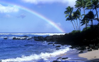 Rainbow over shore wallpapers and stock photos