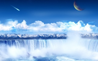 Waterfalls in the sky wallpapers and stock photos