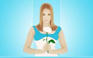 Girl with white rose wallpapers and stock photos