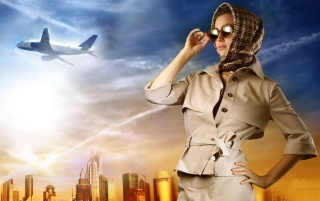 Woman and plane wallpapers and stock photos