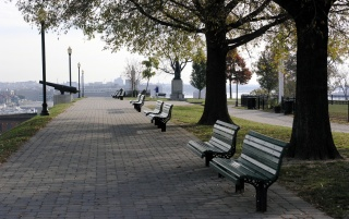 Sidewalk benches wallpapers and stock photos
