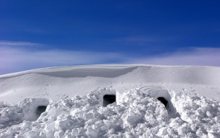 Holes in the snow wallpapers and stock photos