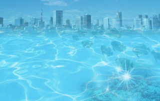 Blue water city wallpapers and stock photos