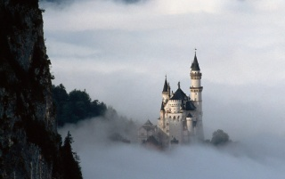 Castle and mist wallpapers and stock photos