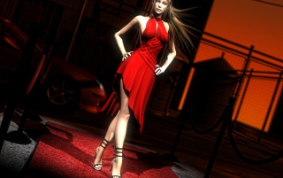 Woman in Red - Daz Studio wallpapers and stock photos