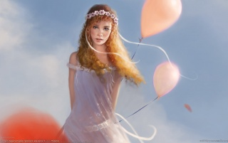 Fantasy girl - Baloons wallpapers and stock photos