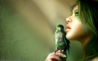 Fantasy girl - Bird wallpapers and stock photos