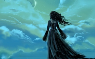 Fantasy girl - Night sky wallpapers and stock photos