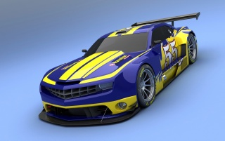 Camaro ALMS Blue and Yellow wallpapers and stock photos