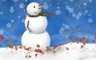 Snowman on blue wallpapers and stock photos