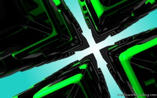 Random: Many green cubes