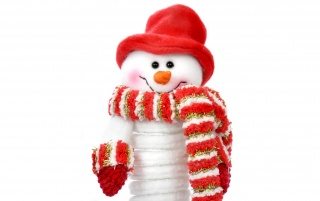 Snowman with red hat wallpapers and stock photos