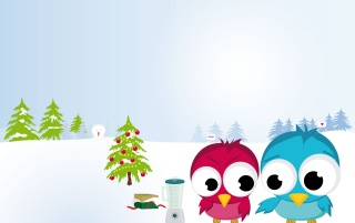 Funny Christmas birds wallpapers and stock photos