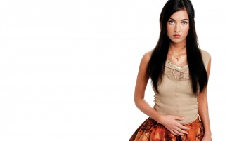Megan Fox Orange Skirt 2 wallpapers and stock photos