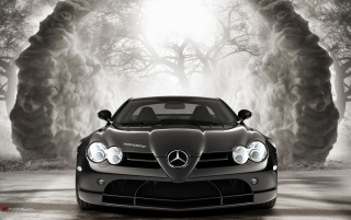 mercedes slr in magic forest 1 wallpapers and stock photos