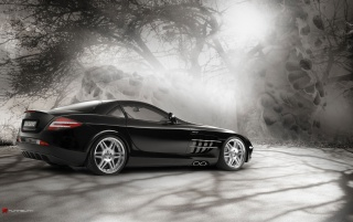 Mercedes SLR in der Magie forest 2 wallpapers and stock photos