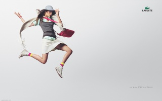 LACOSTE flying girl wallpapers and stock photos