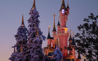Disneyland in winter wallpapers and stock photos