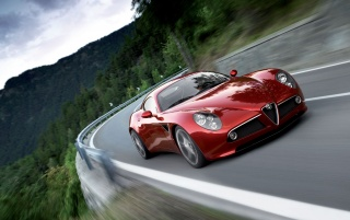 Alfa Romeo 8C in motion wallpapers and stock photos