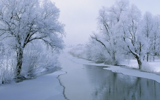 Rvier in winter wallpapers and stock photos