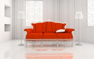 Red sofa on white wallpapers and stock photos
