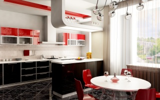 Kitchen in red wallpapers and stock photos
