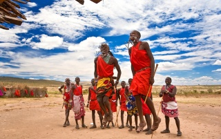 Maasai warriors dancing wallpapers and stock photos