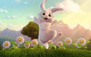 Happy bunny and flowers wallpapers and stock photos