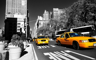 Yellow Taxi in New York wallpapers and stock photos